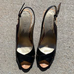 Women's Guess Black peep toe sling back, Size 6.5M